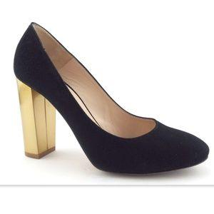 L.K. BENNETT Black Gold Block Heel Pumps 37.5